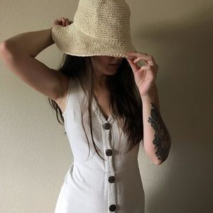 Cream Paper Beach Floppy Hat